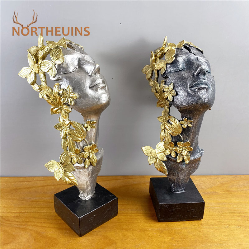 NORTHEUINS Resin Golden Butterfly Girl Mask Statue Creative Retro Beauty Figurines For Interior Home Office Desktop Decoration