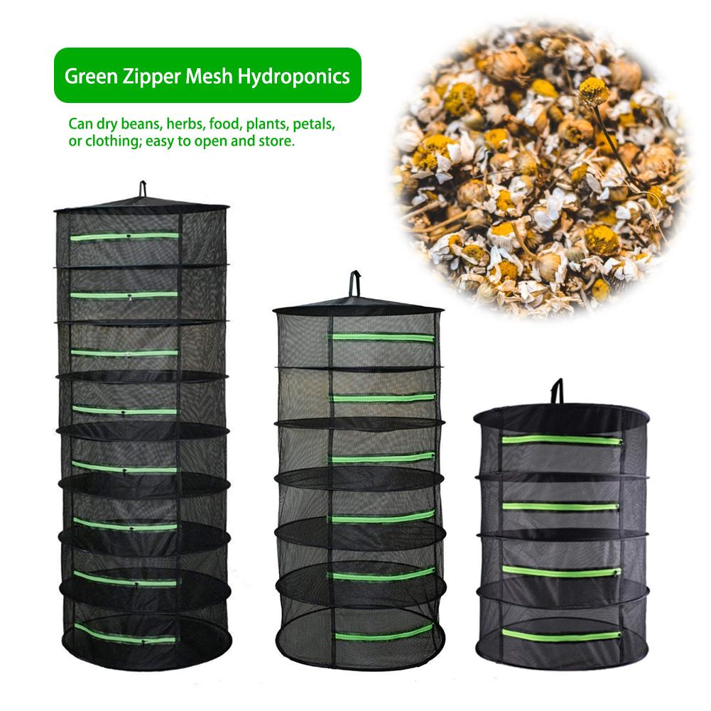 4/6/8 Layer Herb Drying Rack Net Folding Hanging Basket With Zipper Dryer Bag Black Mesh For Herbs Flower Buds Plant Hydroponics
