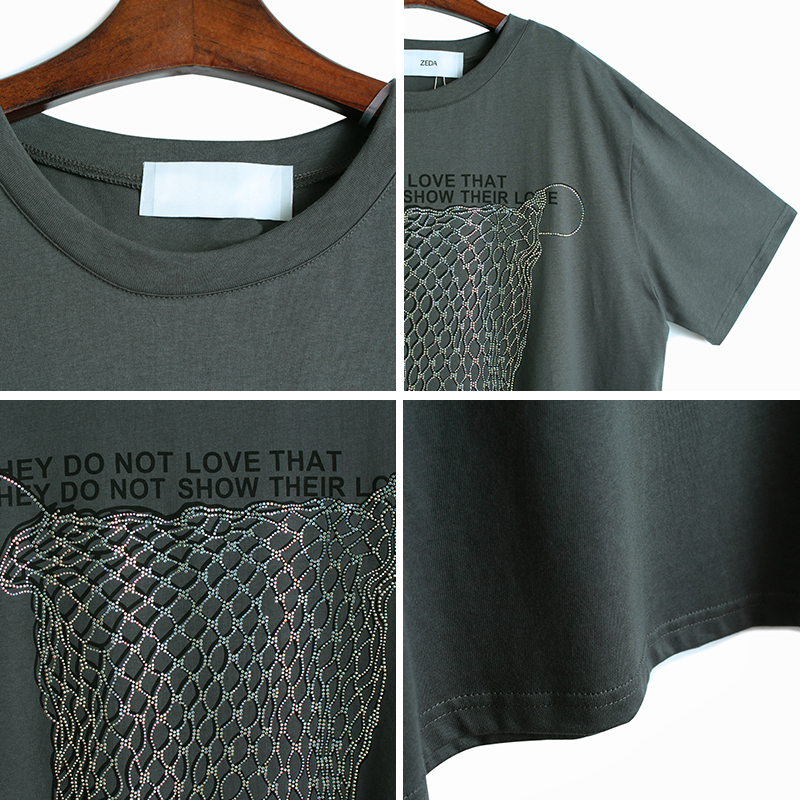[EAM] Women Gray Letter Printed Sequins Split Big Size Long T-shirt New Round Neck Half Sleeve  Fashion Spring Summer 2020 1W348 4