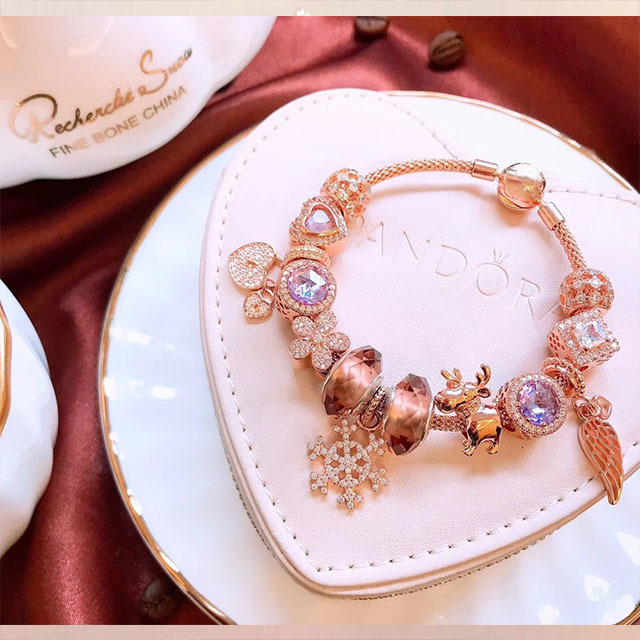 High Quality 1:1 100% 925 Pure Pink Silver Beads Angel Wing Snowflake Snowflake Snow Bracelet Free Shipping