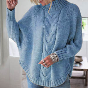 Women's 2020 winter new style large loose bat sleeve ladies knitted sweater