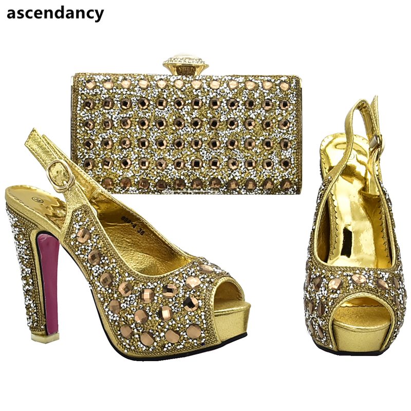 Italian Shoes and Bags for Women Rhinestone Gold Shoe and Bag Set Sales In Women Matching Shoes and Bag Set African Party Pumps-in Women's Pumps from Shoes on AliExpress - 11.11_Double 11_Singles' Day 1
