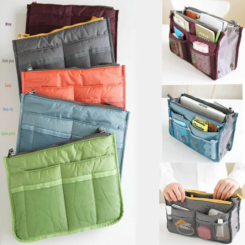 Hot Sale Women Lady Travel Insert  Limit 100 Zipper Solid  Organiser Purse Large Liner Make Up Organize Comestic Organizer