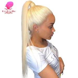 Image 1 - Парики из человеческих волос на полной сетке, 8   28 дюймов, Длинные бразильские прямые, Реми, 613 блонд, Омбре, цвет, безклеевые, искусственные на полной сетке