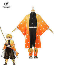 ROLECOS Anime Kimetsu no Yaiba Cosplay Costume Zenitsu Agatsuma Demon Slayer Kimono Full of Sets for Men