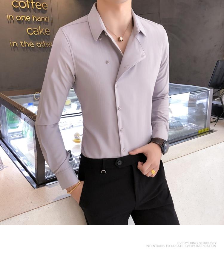 Hf575a87df02646118c3ee6030bda858dy Solid Color Shirt Dress Brand New Slim Fit Men Shirt Solid Long Sleeve Shirts Men Camisa Masculina Tuxedo Clothes