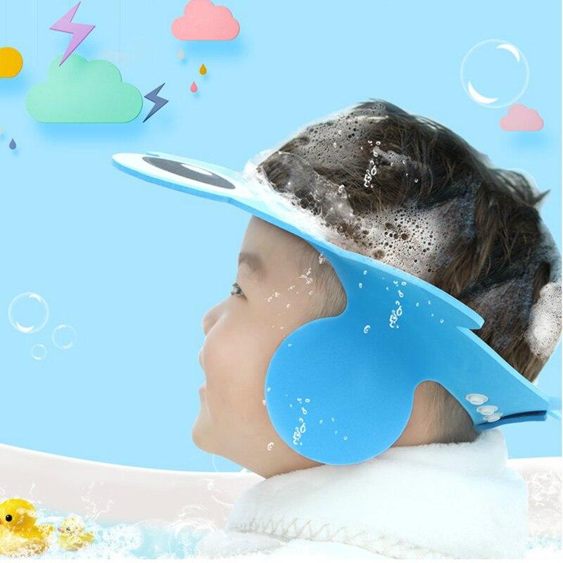 Baby Shower Cap Shampoo Cap Baby Wash Hair Kids Bath Visor Caps Adjustable Shield Waterproof Ear Protection Eye Bebe Infant Cap