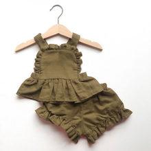 Verão bebê recém-nascido meninas conjuntos de roupas sólido sem encosto de linho algodão topo + shorts da criança crianças roupa princesa do bebê meninas roupas