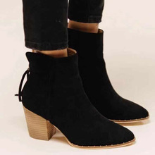 Female Martin Boots 2019 Autumn Leather Women Shoes Suede Booties BritishZzip Retro Trend