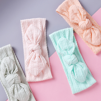 Newborn Headbands For Baby Girls Soft Nylon Knit Cute Rabbit Ears Hair Bands For Girl Turban Knot Headband Kids Accessories 2020 image