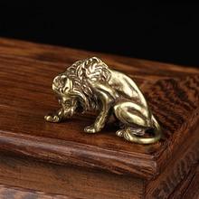 Antique Bronze Lion King Figurines Ornament Pure Copper Tea Pet Vintage Animal Sculpture Miniature Desk Decorations