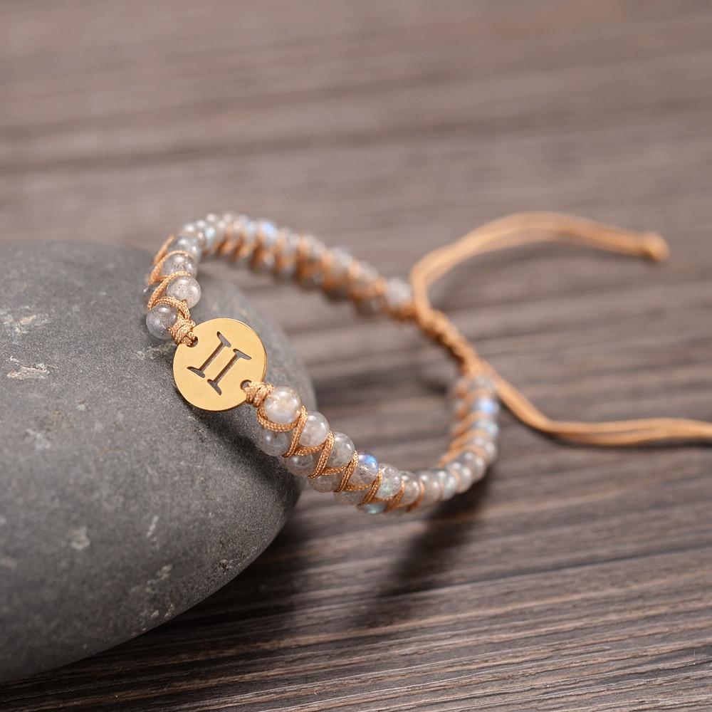 12 Constellations Charm Bracelets Handmade 4mm Birthstone Double Layers Braided Men Women Prayer Lucky Jewelry