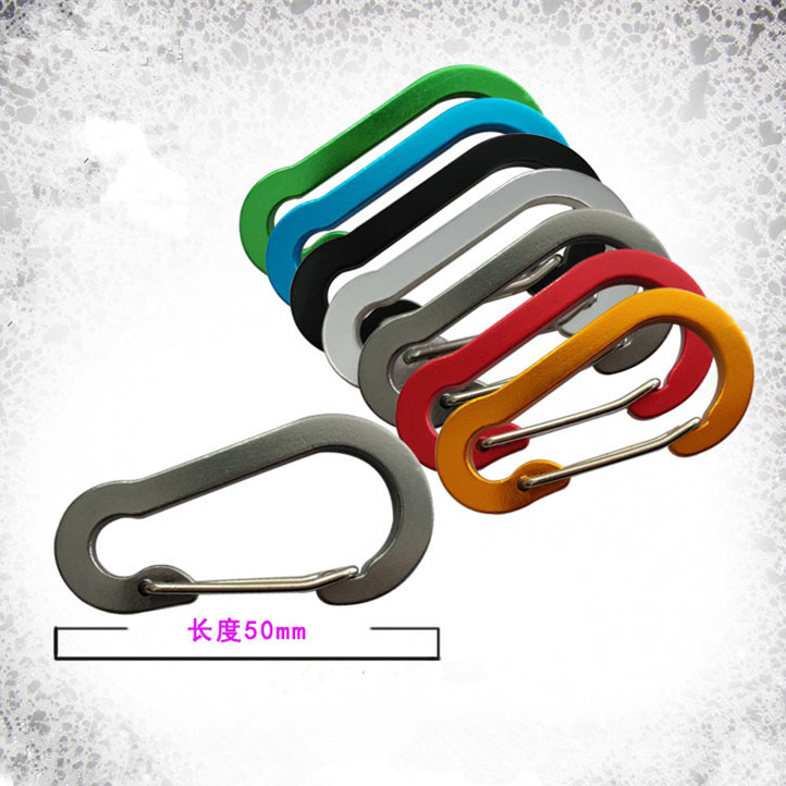 5pcs Outdoor Travel Kit Gourd-shaped Flat Aluminum Alloy Carabiner Camping Color Wire Keyring Snap Spring Hook