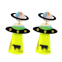 Fashion Acrylic Exaggerated ET alien earrings UFO spaceship UFO Earrings Party Summer Accessory alloy plastic ufo spaceship model space craft 5pcs set