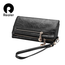 REALER brand new design women wallet long high quality female clutch zipper wallets big capacity purse cellphone bag pocket(China)