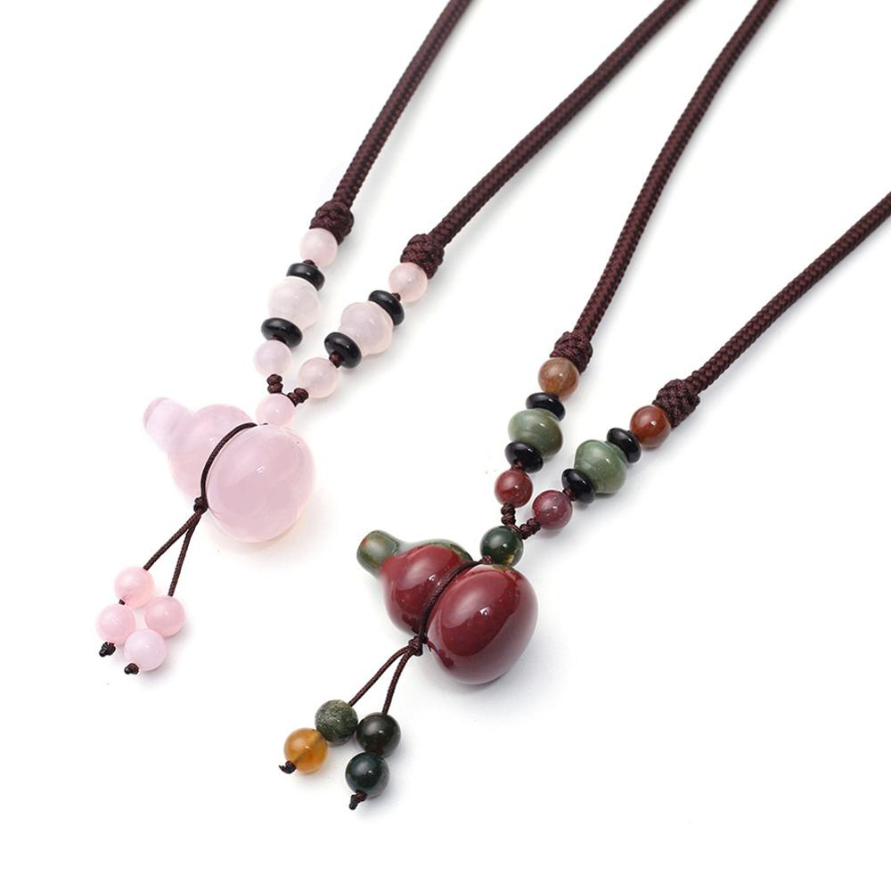 wholesale 3pcs Hand Knotter String stone necklace calabash quartz Natural Stone Beads Energy Women Necklace Women jewelry colar