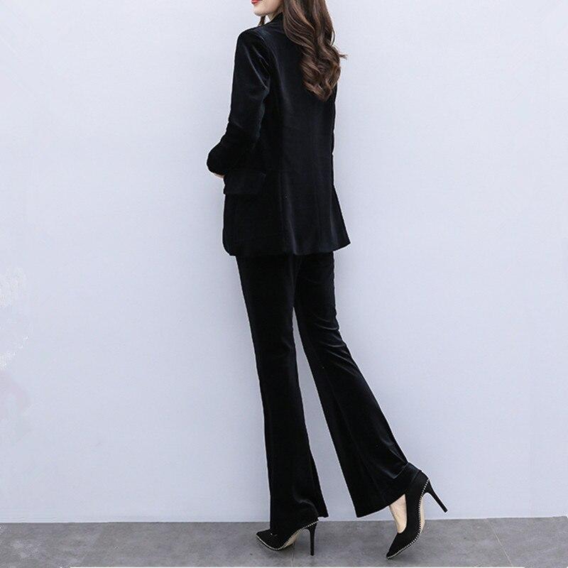 Otoño Invierno nueva mujer oro terciopelo traje casual conjuntos moda delgada Oficina señora profesional pantalones trajes blazer y pantalones dos conjuntos - 5