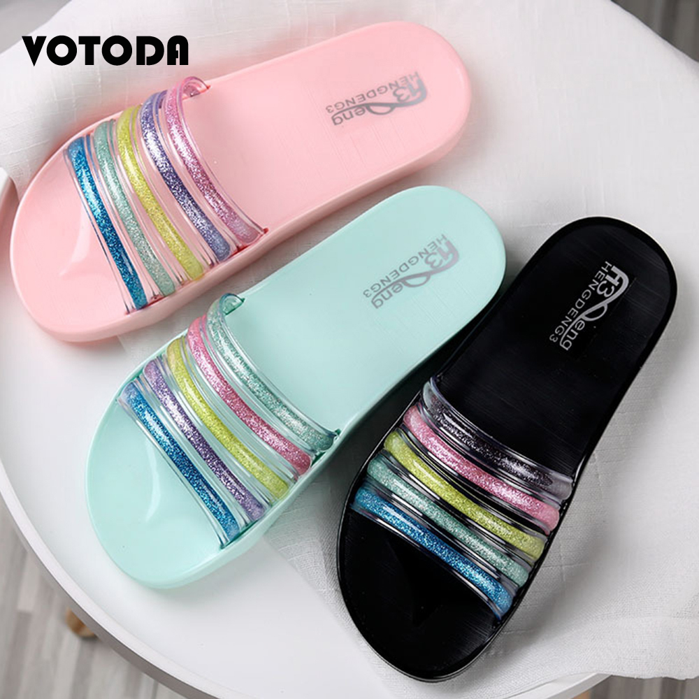 Summer Rainbow Slippers Women Bling Shoes Flat Soft Non Slip Home  Flip Flops Ladies Beach Sandals Jelly Slides Outdoor Slippers