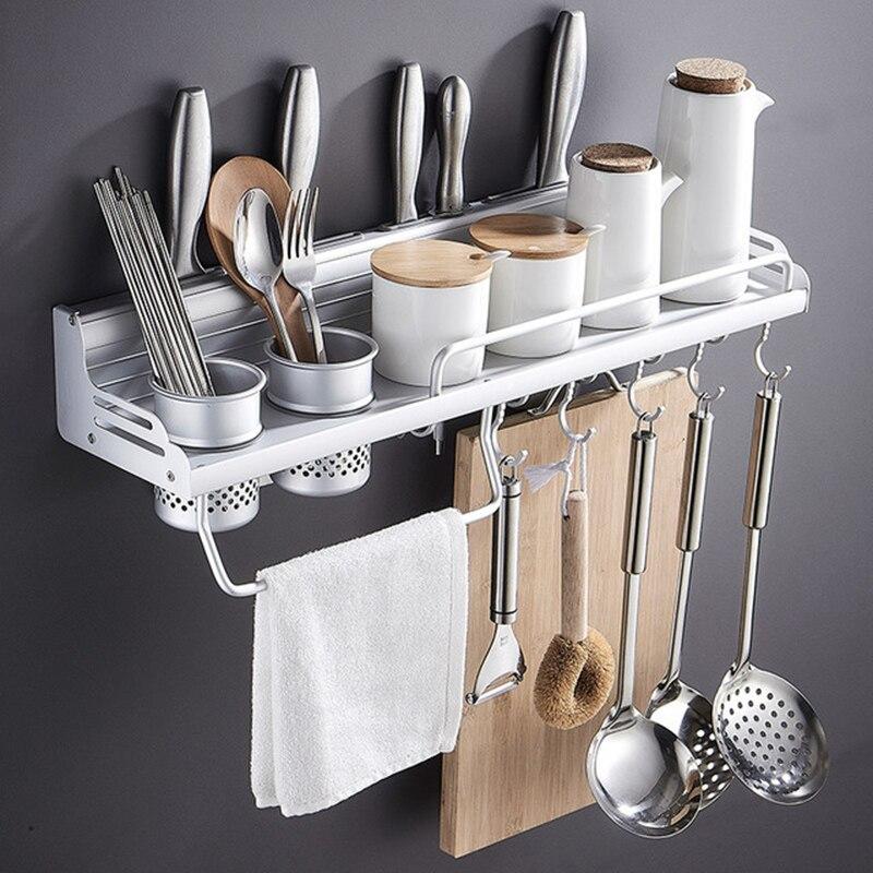 Kitchen rack space aluminum knife holder aluminum side rail fence multi purpose seasoning kitchen storage rack paper towel rack|Racks & Holders| |  - title=