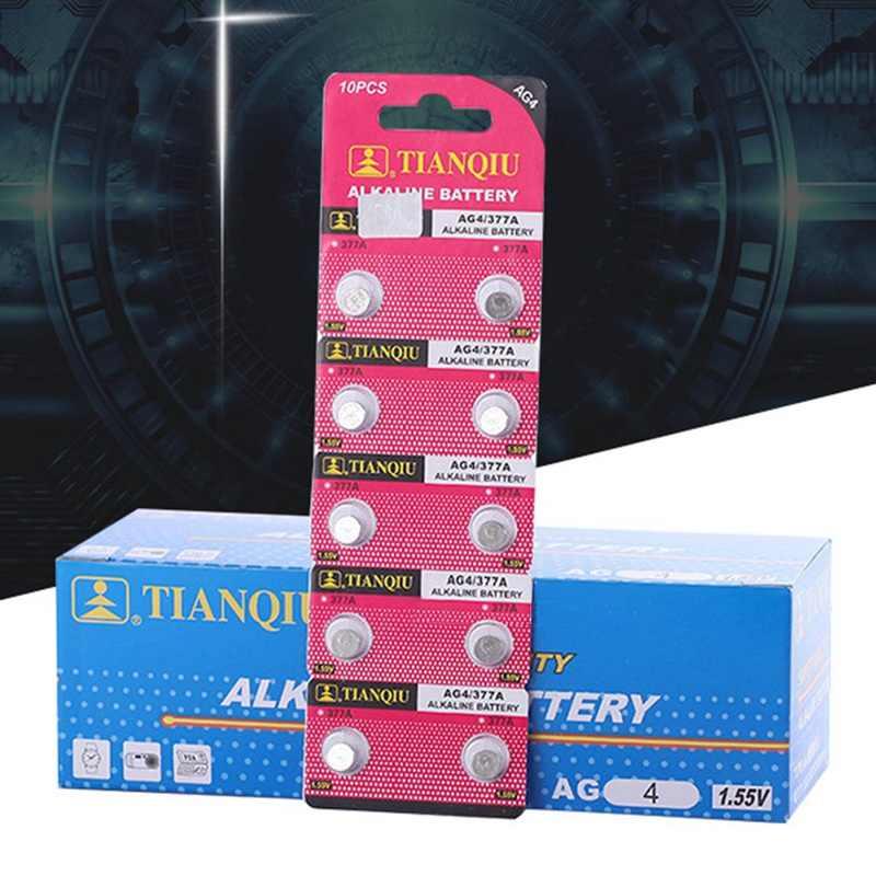 Batería de marca de calidad al por mayor 10 unids/lote = 1 Tarjetas AG4 377A LR626 botón pila reloj moneda