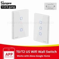 Itead Sonoff T0/T2 Us Touch Schakelaar Smart Lichtschakelaar Panel Muur Interruptor Wifi Schakelaar Ons Standaard Werken Met alexa E-Welink