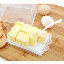 Пластиковая коробка для хранения масла контейнер прозрачный сырный сервер Хранитель лоток с ножом и перегородкой Япония масло блюдо коробка