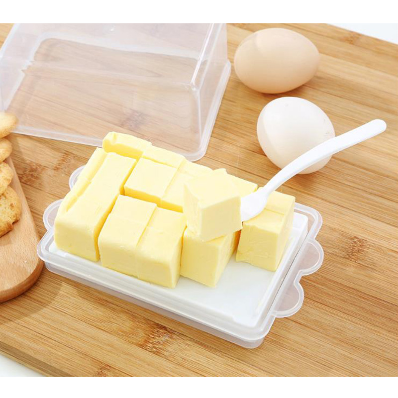 Plastic Butter Storage Box Container Transparent <font><b>Cheese</b></font> Server Keeper Tray <font><b>With</b></font> <font><b>Knife</b></font> & Partition Japan Original Butter Dish Box image