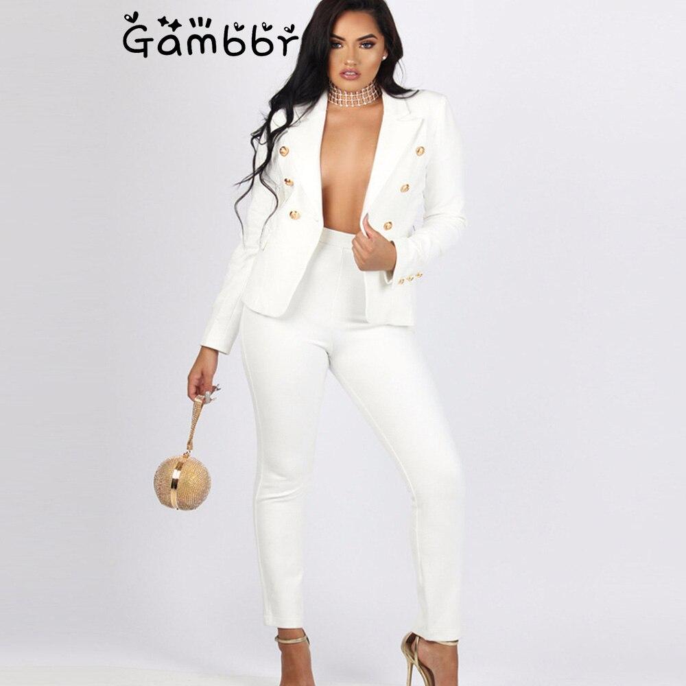 Vintage Double Breasted Women White Pant Suits 2 Piece Set Blazer Jacket & High Waist Pant 2019 Autumn Winter Office Wear Suits