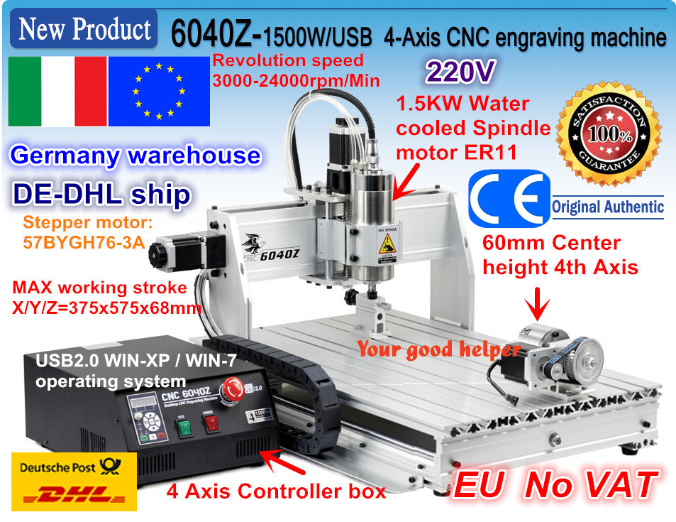 EU/DE free ship 4 Axis USB port 6040 CNC 2200W 2.2KW USB Mach3 CNC Router Engraver Engraving Cutting Milling Machine 220VAC|Wood Routers| |  - title=