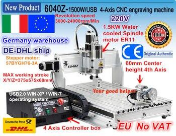 EU/DE free ship 4 Axis USB port 6040 CNC 2200W 2.2KW USB Mach3 CNC Router Engraver Engraving Cutting Milling Machine 220VAC cnc engraving machine mach3 usb to parallel lpt port converter adapter controller