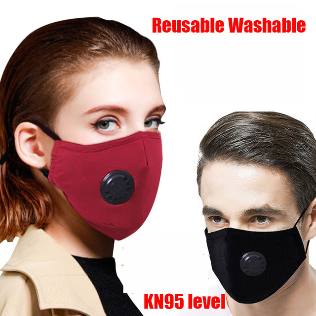 Adult 3D Face Mask pm2.5 Reusable Washable Anti flu Dust Bacteria Virus Breathable Valved Respirator Activated Carbon Filter