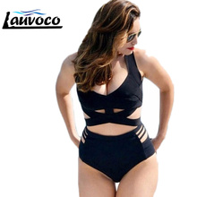 купить High Waist Bikini Plus Size Women Swimwear Bandage Cross Bikinis Set Swimsuit Ladies Sexy Cut Out Big Size Biquini For Fat Women онлайн