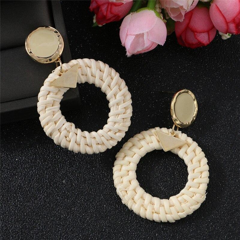 ELEGANCE11 Kawaii Orange Earrings Korea Trendy Handmade Braided Round Pendant Earrings for Women Costume Jewelry Christmas Gift