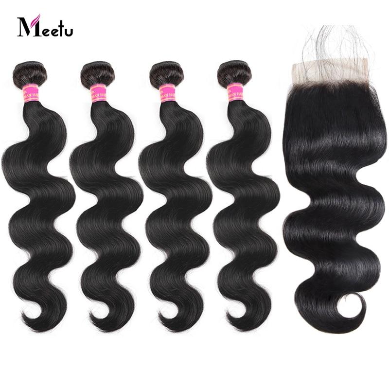 Meetu Indian Body Wave Bundles With Closure 4 Bundles With Lace Closure Natural Color Human Hair Bundles With Closure Non Remy