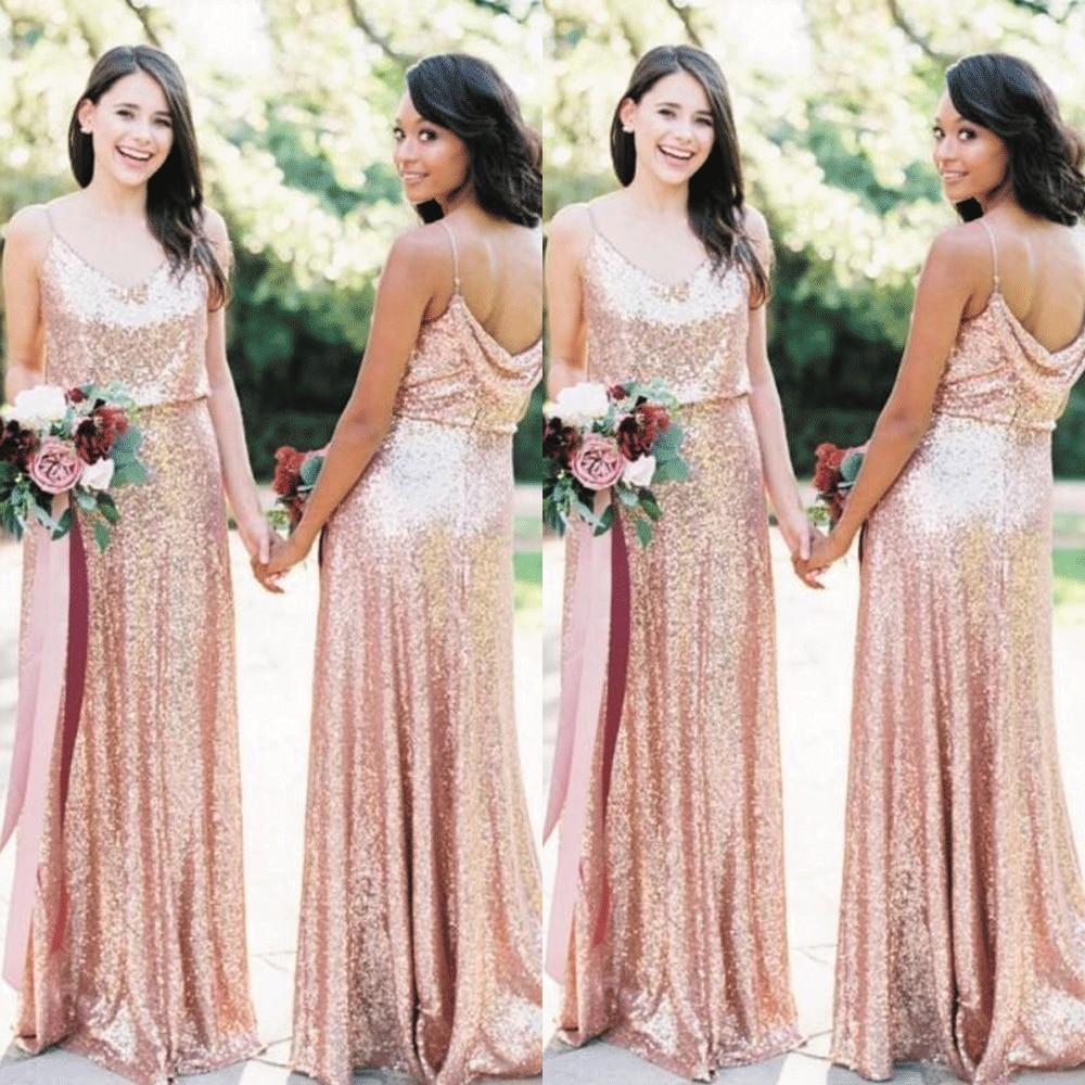 SuperKimJo Rose Gold Bridesmaid Dresses Long Cheap Sparkle Sequin Wedding  Party Dresses Vestidos De Boda Invitada
