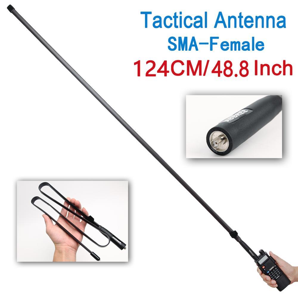 ABBREE SMA женский 124 см двухдиапазонный VHF/UHF складной CS тактическая антенна для Baofeng UV-5R UV-82 двухстороннее радио AR-F8