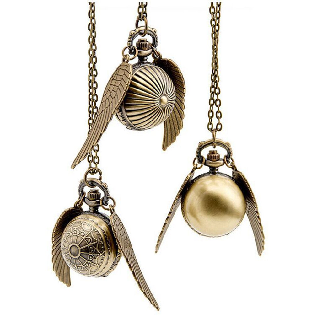 Elegant Snitch Quartz Watch Charming Vintage Angel Wing Fob Pocket Watch Pendant Clock Necklace Chain For Men Women