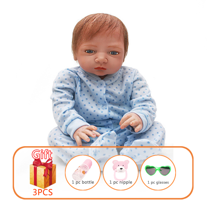 46cm Newborn Baby Silicone Dolls Toys Doll Reborn Soft Toy Toddlers For Kid