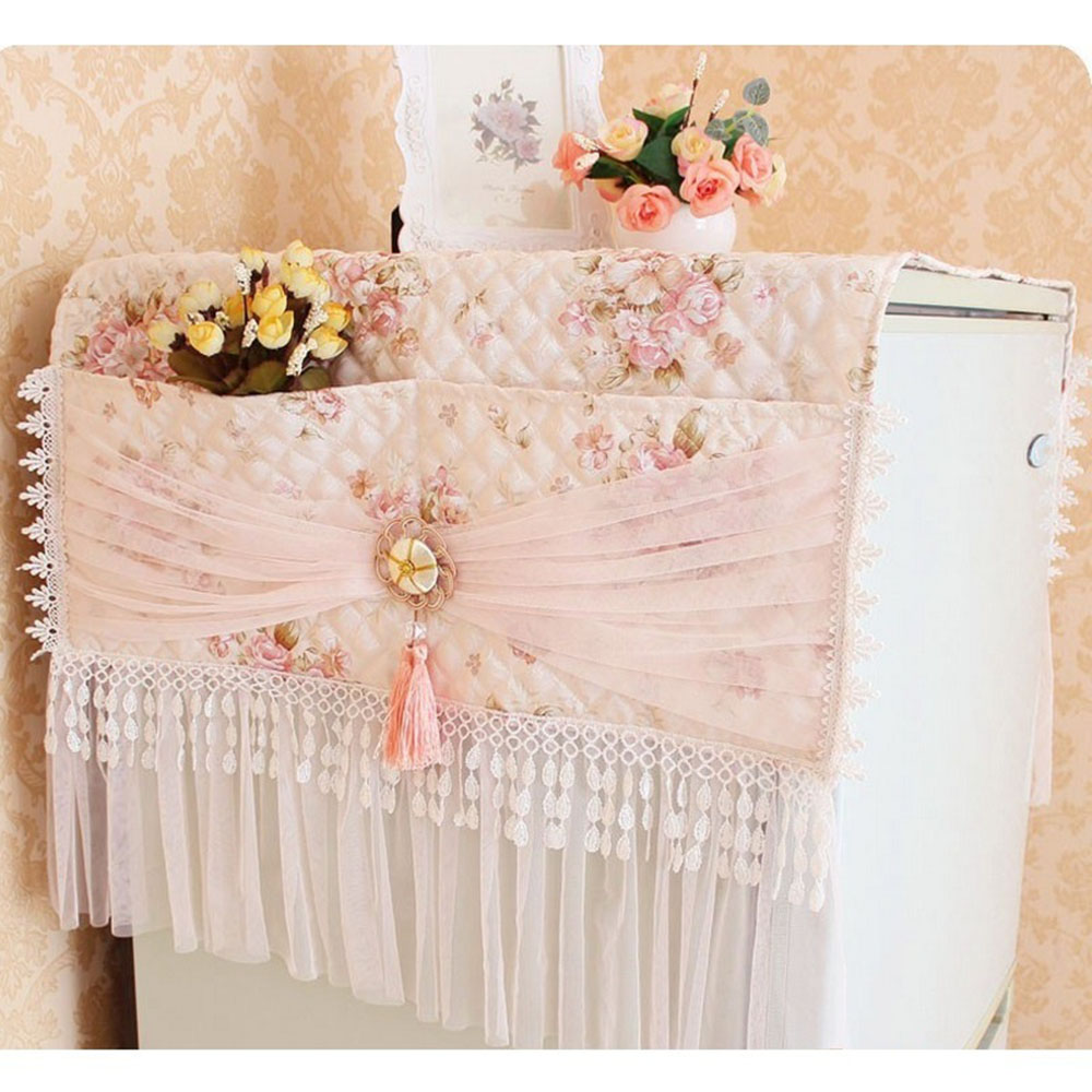 Pastoral Fridge Top Cover Lace Freezer Dustproof Single Door W/ Storage Bag Freezer Top Bag Kitchen Supplies table cloth image