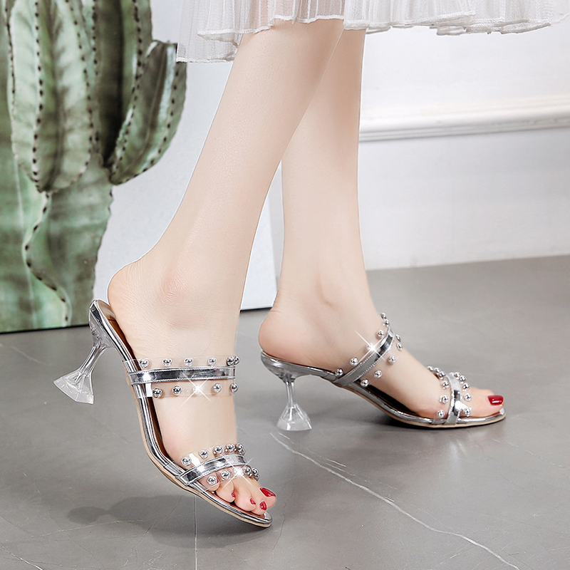 Summer Women High Heels Sandals Transparent heels Shoes Fashion Ladies Spike Heels Peep Toe Slip on slippers zapatos de mujer