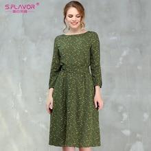 Dress Elegant Vestidos Floral-Printed S.FLAVOR Green Hot-Sale Summer Midi Women Casual