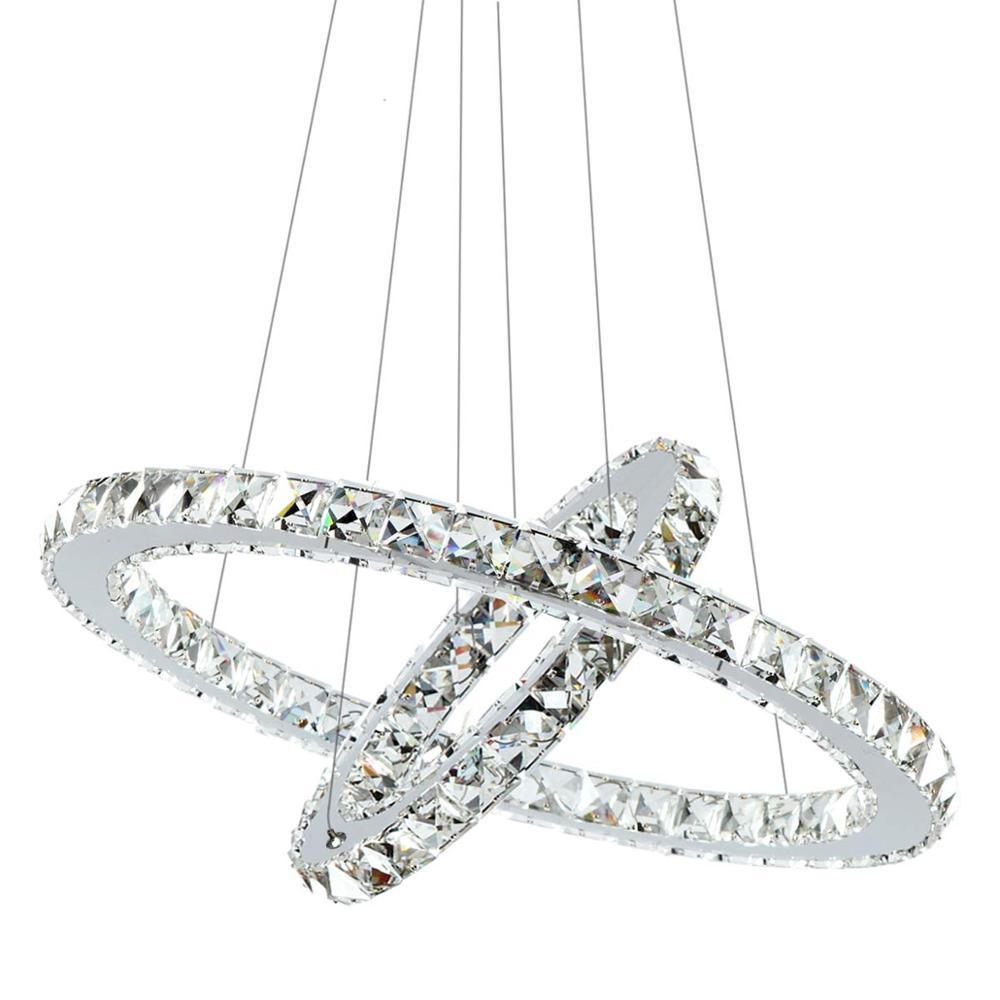 LED Chandelier Lighting Crystal Modern LED 2 Rings Lights for Bath Room font b Closet b