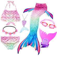 New Children the Little Mermaid Tail with Garland can Add Monofin Mermaid Swimsuit Bikini Bathing Suit Costume Swimmable
