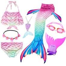 Bañador de cola de sirena pequeña para niños, traje de baño de sirena con guirnalda y Monofin
