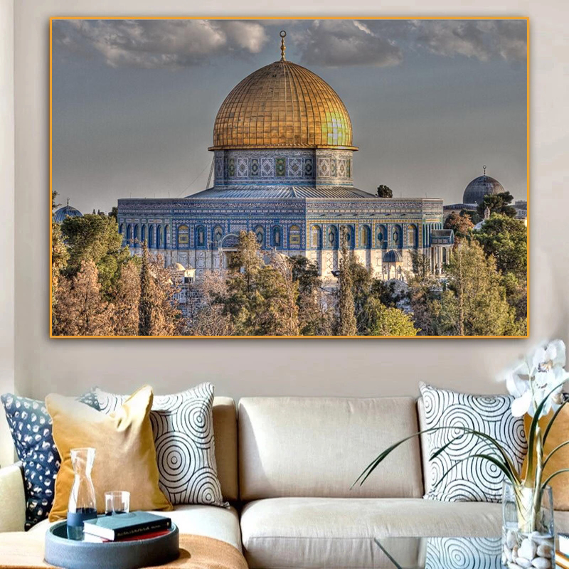 Muslim Masjid Al Aqsa and Dome of The Rock Oil on Canvas Paintings Wall Art Posters and Prints Wall Art Picture for Living Room