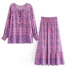 Shirt Long-Skirts Tassel Paisley Blouse BOHO Floral-Print 1set Women Maxi V-Neck Ethnic