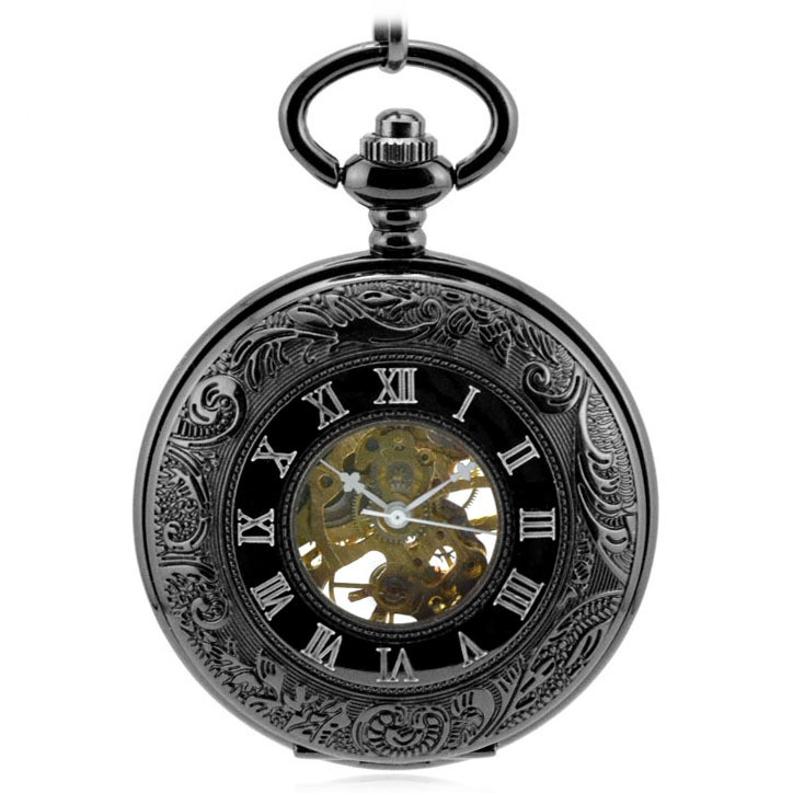 Black Roman Double Display Mechanical Pocket Watch Ancient Hollow Flip Retro Roman Number Dial Chian Gifts For Men