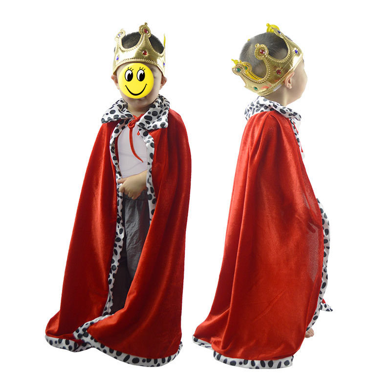 Red Boy Girl King Children Cosplay Cloak Cape Prince Crown Birthday Party Cosplay Halloween Costume for Kids  Christmas figurine