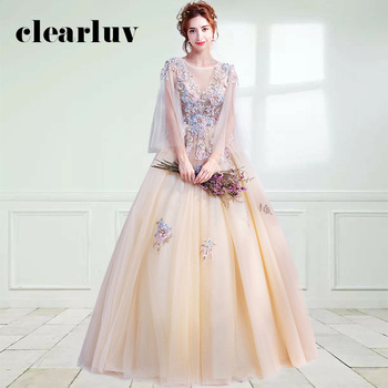 Elegant Evening Dress DR419 Embroidery Beading Women Party Dresses O-Neck Long Sleeve Formal Gown Shiny Crystal Robe De Soiree