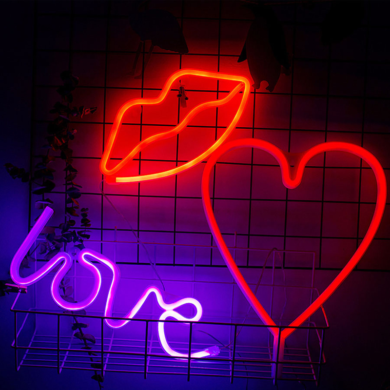 Led Night Light Battery USB Charging LED Neon Light Sign LOVE HEART Wedding Party Decoration Valentines Day Night Lamp Gift
